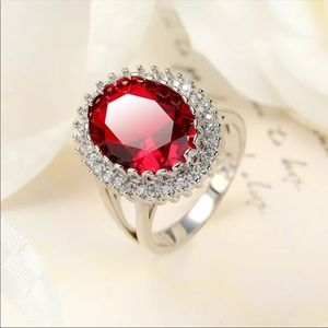 New silver Micro Inlaid red Zircon Women's Ring